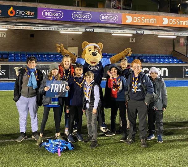 Scouts at a Cardiff Blues rugby match